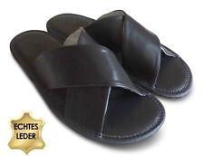 Herren Hausschuhe Pantoffeln Schlappen aus feinem KALBSLEDER Schwarz Gr. 41- 46