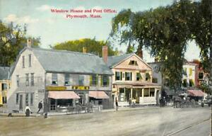 PLYMOUTH, Massachusetts MA   WINSLOW HOUSE & POST OFFICE   c1910's Postcard