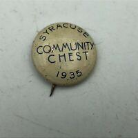 1935 Syracuse NY Community Chest Button Pin Pinback Original Vtg Antique   D5