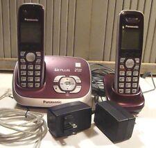 2 Panasonic Schnurlose Telefone Anrufbeantworter System Modell KX-TG6521 Paar Handsets