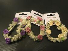 Faux pearl beaded & floral hair bun ring fabric band rose flowers elastic bobble
