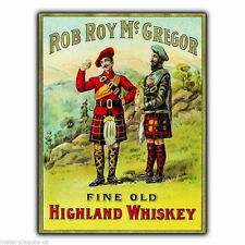 Letrero de metal placa de pared Rob Roy MacGregor whisky escocés Imagen Cartel Vintage