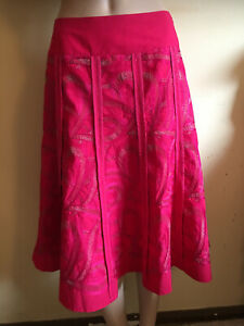 Monsoon ~ Bright Pink Panelled Flared Midi Skirt with Gold Embroidery ~ Size 10
