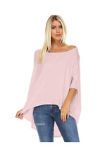 Women's Batwing Off Shoulder Baggy Oversize Loose Shirt Top Medium