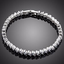 White Gold Plated Sparkly Clear Cubic Zircon Stone Bracelet Women Gift Jewelry