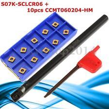 10x CCMT0602 Carbide Inserts + S07K-SCLCR06 7x125mm Lathe Boring Bar Tool Holder