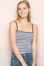 New! brandy melville stretchy crop Navy/blue/white striped faye tank top NWT S/M