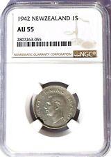 1942 New Zealand 1 Shilling, NGC AU 55, KM-9