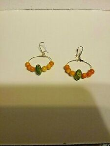 Green and orange turquoise hoops, gold plated