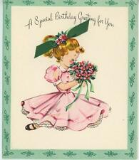 VINTAGE GIRL PINK DRESS RUFFLES PONYTAIL FLOWERS BOUQUET GREEN CARD ART PRINT