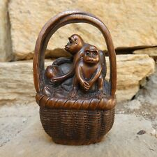 JAPANESE WOODEN SCULPTURE NETSUKE TWO MONKEYS IN FRUITS BASKET SIGNED