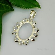 18x13 Oval Cameo Cabochon (Cab) Sterling Silver Pendant Setting (LRG BAIL)