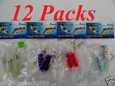 12 Packs Rock Cod Bulb Squid Rigs two bulb squids Rigged Fishing Lures Combo