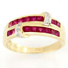 Band Natural Ruby Yellow Gold Fine Rings
