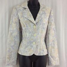 Stunning TALBOTS Elegant Ivory Paisley Embossed Career Work Blazer Jacket Sz 4