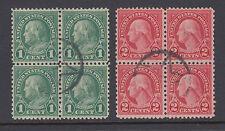 US Sc 578-579 used. 1923 1c & 2c Rotary Press cplt, matching blocks of 4, Cert.