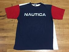 VTG 90s NAUTICA COMPETITION Red/White/Blue Colorblock T-shirt Size L EUC