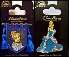 Disney Parks 2 Pin Lot CINDERELLA Princess Banner Shield tassels + sitting