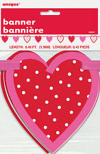 Valentines Day Garland Banner Pink & Red heart cutouts strung along ribbon 196cm