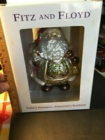 """NEW Fitz and Floyd Large Glass Santa Holiday Christmas Ornament 8"""" Free Shipping"""