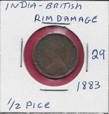 INDIA-BRITISH 1/2 PICE 1883 EMPRESS VICTORIA,CROWNED BUST LEFT,VALUE AND DATE WI