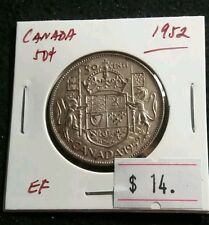 Canada 1952 50 cents George VI Nice High Grade Silver Half Dollar Lot#377