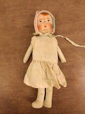 8 inch antique baby doll original unique paper cloth handpainted