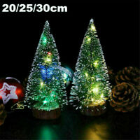 20/25/30CM Mini Christmas Tree W/LED Lights Ornaments Desk Table Decor Xmas Gift