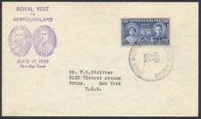 1939 Newfoundland #249 Royal Visit FDC, Purple Vignettes Cachet, Sandy Point