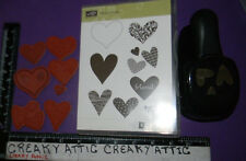 STAMPIN UP I HEART HEARTS AND PUNCH 8 CLING RUBBER STAMPS TEXTURED