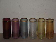 "Vtg 6pc 4.75"" iridescent multi color gold trim cordial bar glass set ~S"
