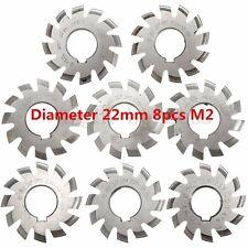 Diameter 22mm 8pcs M2 20degree #1-8 Involute Gear Cutters HSS