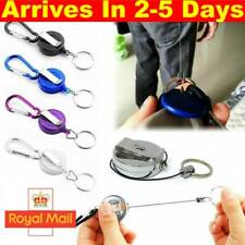 1/2PCS Stainless Silver Retractable Key Chain Recoil Keyring Heavy Duty Steel UK