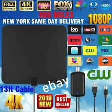 Digital TV Antenna 980 Miles Signal Booster Amplifier HDTV Indoor USB Thin 13ft.