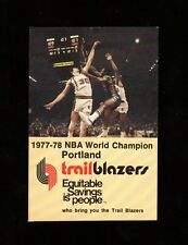>GEM 1977-78 Portland Trailblazers *World Champions* BASKETBALL POCKET SCHEDULE