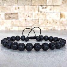 Stretch Hot Bangle Beaded Adjustable Men's Women's Rock Lava Bracelet Yoga