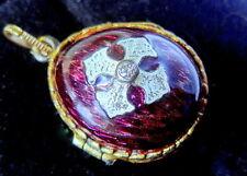 FABERGE EGG PENDANT, 14K GOLD  BALE, 1mm DIAMOND, 925 SILVER BODY, PURPLE ENAMEL