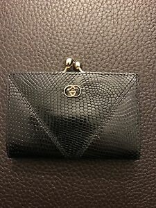 RARE!!!!! Gucci GG Logo LE Exotic Lizard Patent Coated Leather Coin Purse Wallet