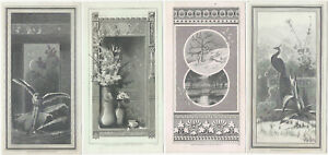 Four Steel-Engraved Aesthetic Movement 1879 Cards - Peacock Owl Flowers Winter
