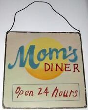 "MOM'S DINER ""OPEN 24 HOURS"" METAL SIGN Tin Moms Retro Kitchen"