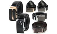 Fashion Genuine Leather Mens Automatic Ratchet Buckle Waist Strap Belts NEW