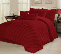 7 Piece Hillary Bed in a Bag Ruffled Comforter Sets- Queen King Cal.King Size