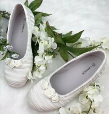 NIB~LAMOUR~L'AMOUR~BALLET SHOES~WHITE~PLEATED/BEADED~SATIN~13