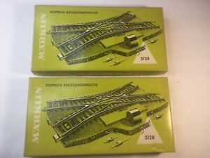 2 Marklin #5128 HO Scale M Track Double Slip Switch W/ Original Box No Reserve!