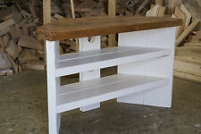 Shabby chic corner TV stand chunky real wood painted antique white