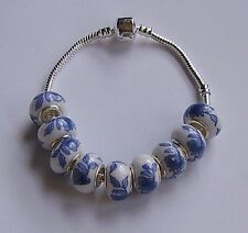 ceramic beads - white with blue floral motif