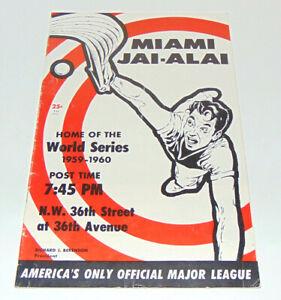 Vintage:Original Miami Jai-Alai Fronton Program March 2, 1960. Miami, Florida