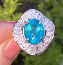 3.86ct Neon Paraiba Color Earth Mined Natural Apatite Sterling Silver Ring 8