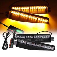 """34"""" 32W LED Amber Emergency Warning Flash Visor Dash Deck Split Strobe Light Bar"""