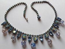 VINTAGE WEISS SIGNED LIGHT BLUE & BOREALIS RHINESTONE AND GLASS BEAD NECKLACE